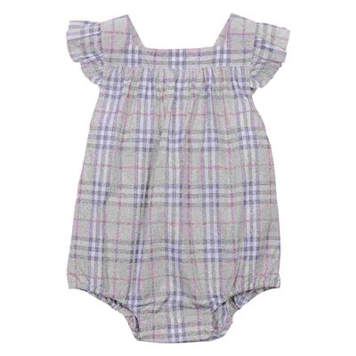 Check cotton muslin bodysuit