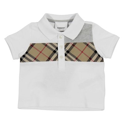 White cotton piquet polo shirt