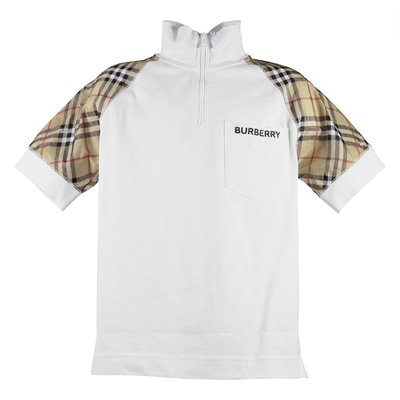 White vintage check inserts cotton jersy zip-up t-shirt