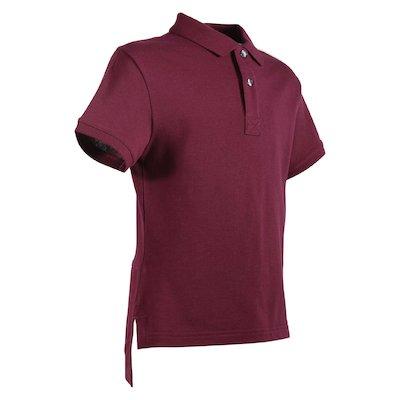 Burgundy logo detail cotton piquet polo shirt
