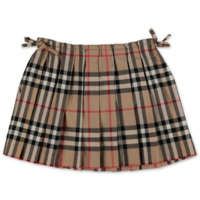 Burberry gonna mini-Pearly Vintage Check plissettata in popeline di cotone