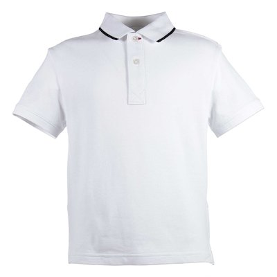 White logo detail cotton piquet polo shirt