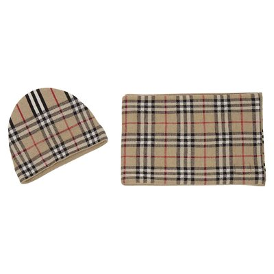 Vintage check Icon stripe merino wool hat and scarf set
