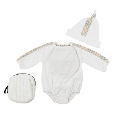 White cotton baby set with body, hat and bib