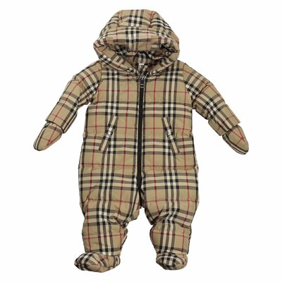 Vintage Check nylon padded romper with hood