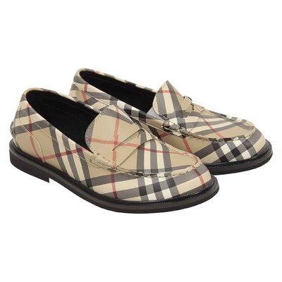 Vintage check leather penny loafers