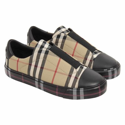 Vintage check cotton no laces sneaker
