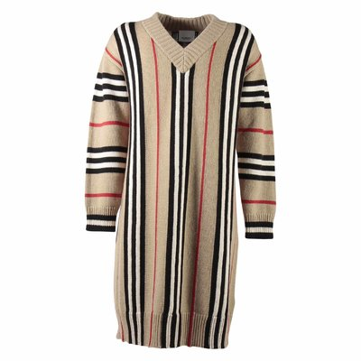 Abito Icon Stripe in cashmere e lana