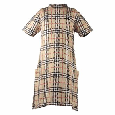 beige merino check jacquard dress