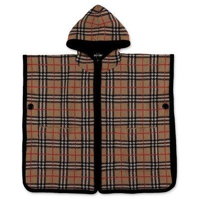 Burberry Check Cape in maglia di pura lana merino con cappuccio