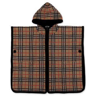 Burberry check pure merino wool zip-up hooded cape