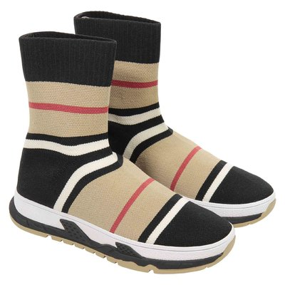 Iconic striped motif stretch fabric slip-on sneakers