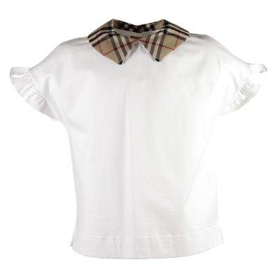 Blusa bianca DITA in jersey di cotone con dettagli Vintage Check
