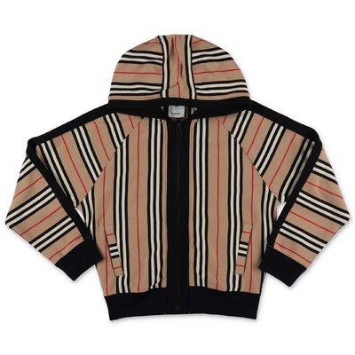 Felpa Icon Stripe in cotone con cappuccio