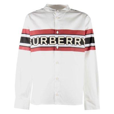 버버리 로고 프린트 스트레치 코튼 포플린 셔츠