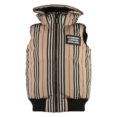 Stripe Check LEROY nylon down jacket with hood