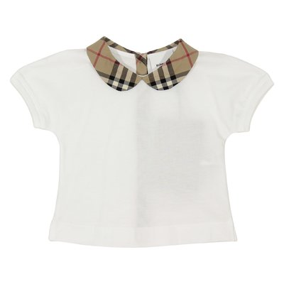 White cotton jersey vintage check details t-shirt