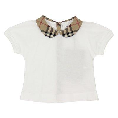 T-shirt bianca in jersey di cotone con dettagli Vintage Check