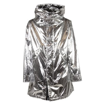 CHAUNDLER SILVER nylon metallic parka with hood