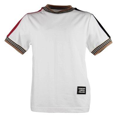 T-shirt bianca Icon Stripe in jersey di cotone