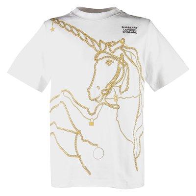 T-shirt bianca Unicorn Chain in jersey di cotone