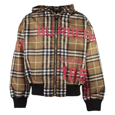 Vintage Check nylon padded jacket with hood