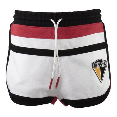 Stripes graphic patch cotton shorts