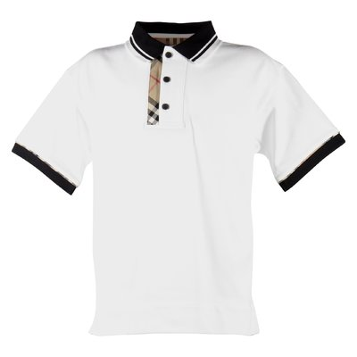 White cotton piquet Archie polo shirt