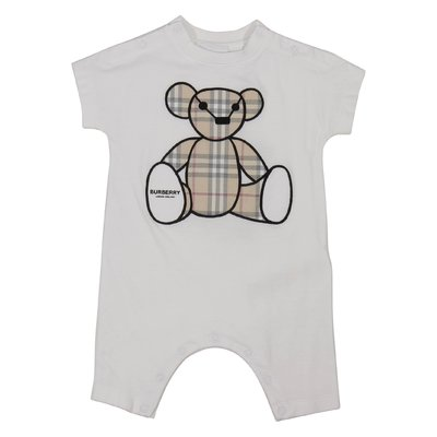 White cotton jersey BEAR-ONESIE romper