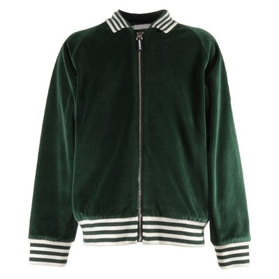 Green stripe details velour sweatshirt