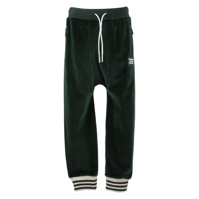 Green stripe details velour pants