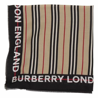 Foulard Icon Stripe in cotone e seta