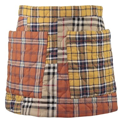 Contrasting tartan motif patchwork quilted cotton LOGAN skirt