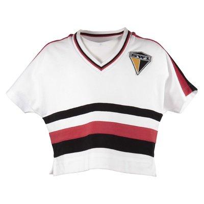 T-shirt bianca in cotone piqué stile maglia da calcio