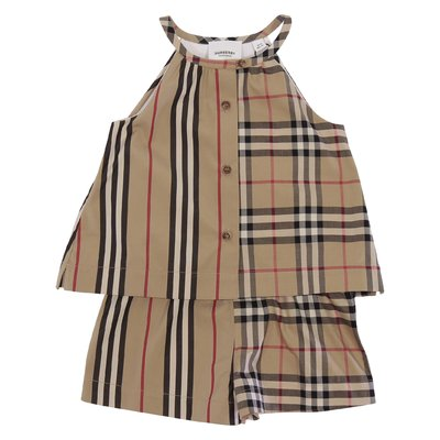 Burberry ALICE cotton poplin romper with Icon stripe & Check panels