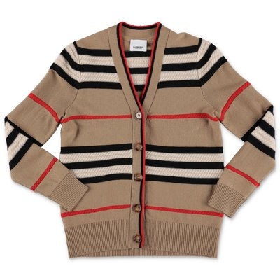 Burberry cardigan LEETA Icon Stripe in maglia di lana e cashmere