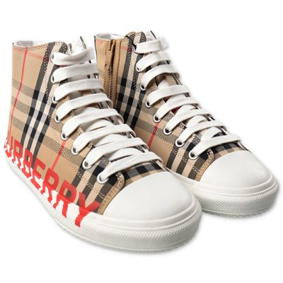 Burberry sneakers alte Mini LARKHALL Vintage Check in cotone con logo