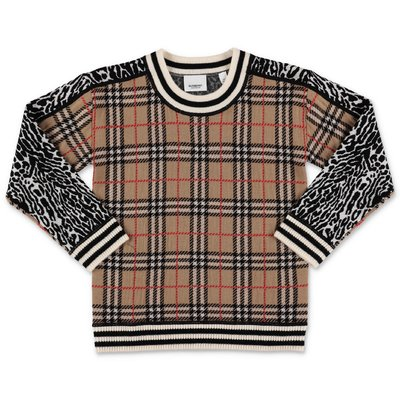Burberry pullover check e animalier in lana merino