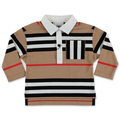 Burberry polo Icon Stripe MINI-CUTHBERT in piquet di cotone
