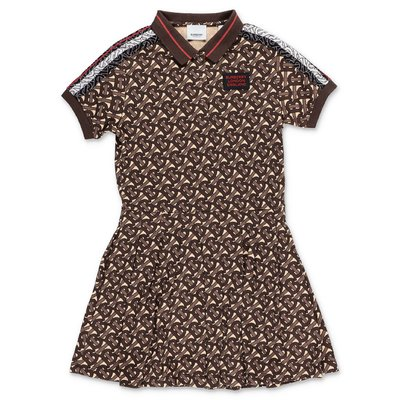 Burberry KAYLEIGH brown cotton piquet polo style dress