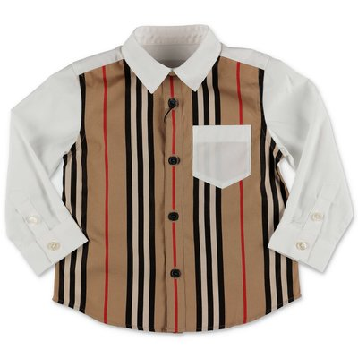 Burberry camicia bianca e Icon Stripe MINI-LEDGER in popeline di cotone