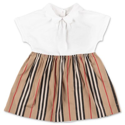 Burberry JANINE Icon Stripe and white cotton dress