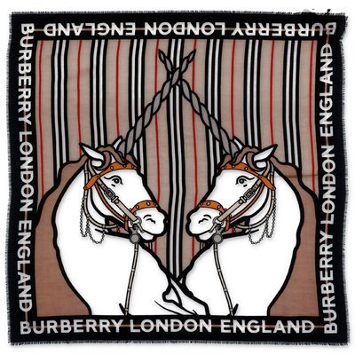 Burberry Icon Stripe cotton & silk twill headscarf with unicorns
