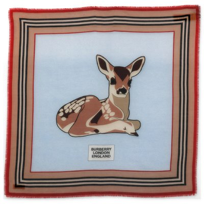 Burberry cotton & silk twill headscarf with baby deer