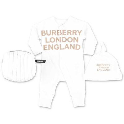 Burberry set da due pezzi con tutina e cappello in cotone di colore bianco