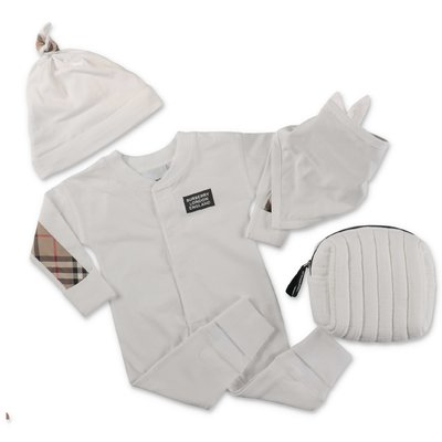 Burberry white cotton romper hat & bib set