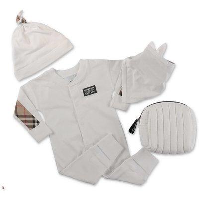 Burberry set bianco in cotone con tutina, cappello e bavetta
