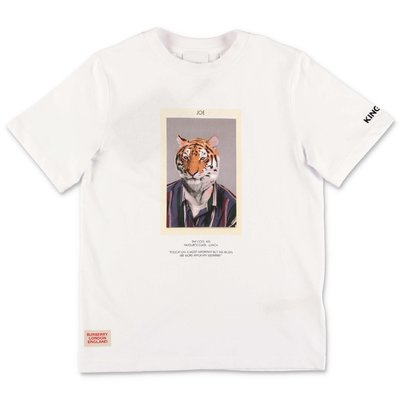 Burberry t-shirt bianca TIGER JOE in jersey di cotone