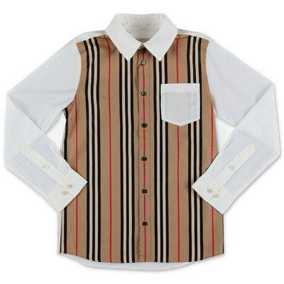 Burberry camicia bianca e Icon Stripe LEDGER in popeline di cotone