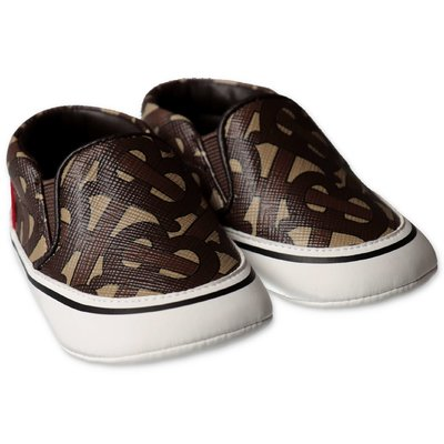 Burberry brown monogram print prewalker shoes